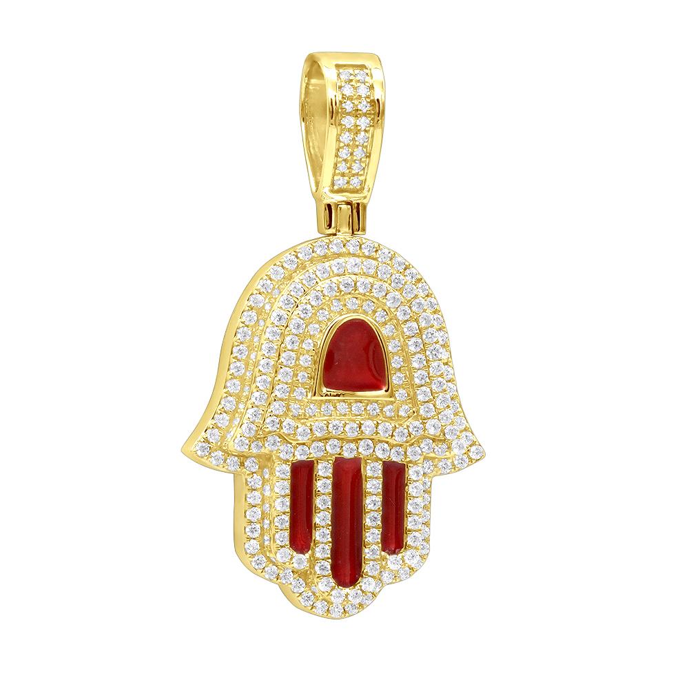 Red Hamsa and Halloween diamonds in one pendant