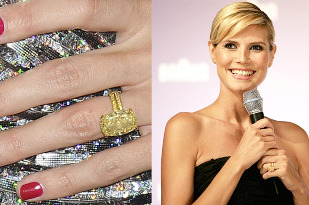 Heidi Klum wearing her canary diamond engagement ring