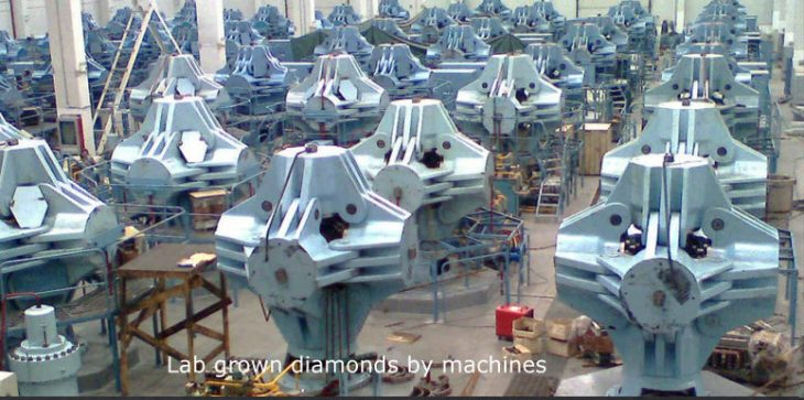Massive machine parks producing synthetic diamonds enhanced to highest clarity levels