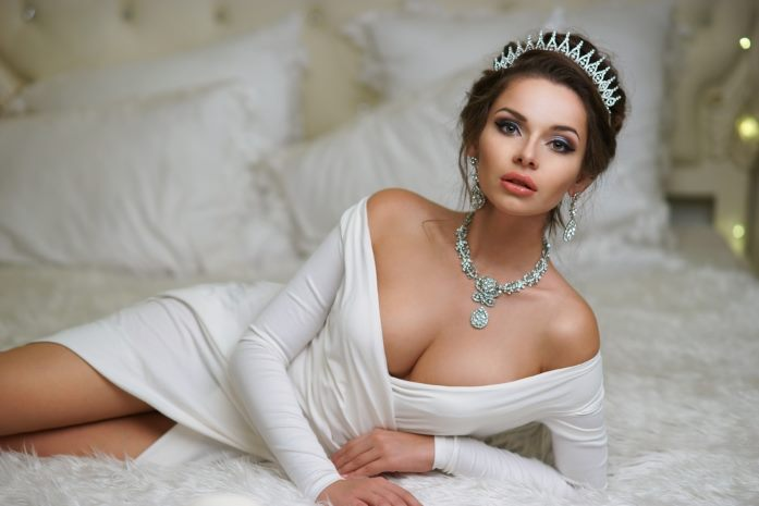 Beautiful lasered diamond necklace on attractive woman.