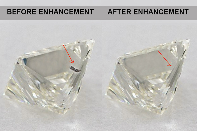 Diamond with a single blemish corrected using laser filling clarity enhancement.