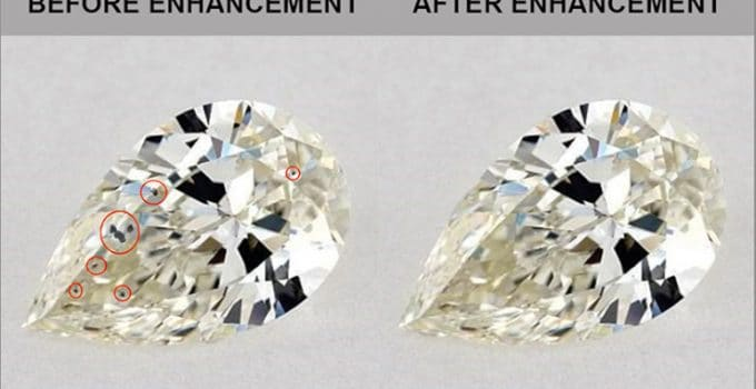 Diamond with multiple inclusions clarity enhanced using high temperatures and liquid glass.