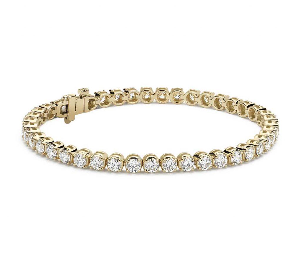 Valentine's Day diamonds set in a gold bracelet.