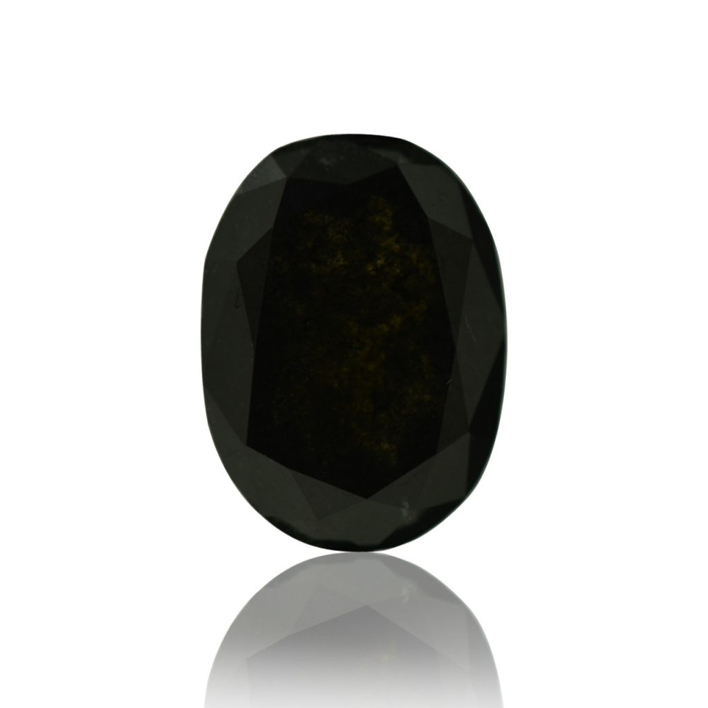 A beautiful, black, clarity enhanced colored diamond.