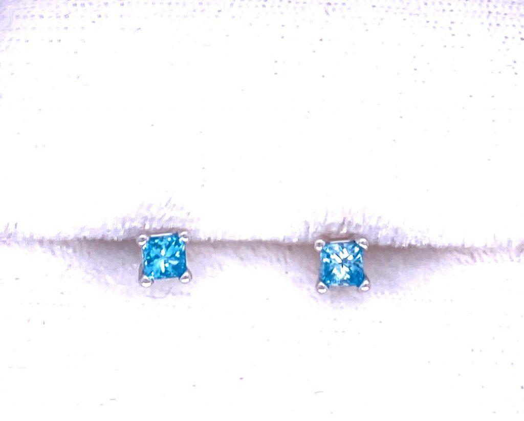 Treated diamond earrings