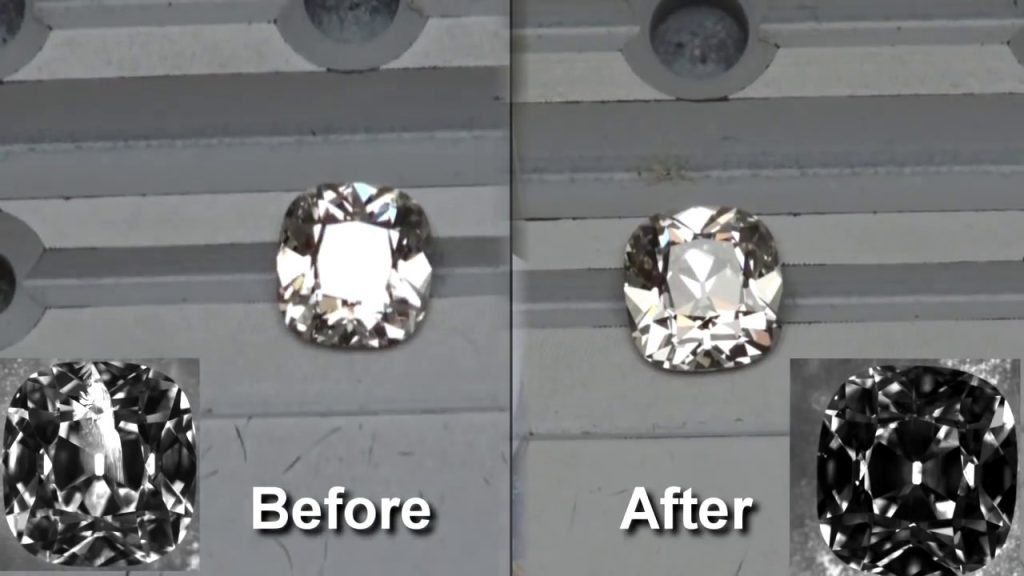 A blemished natural diamond that became a clarity enhanced diamond