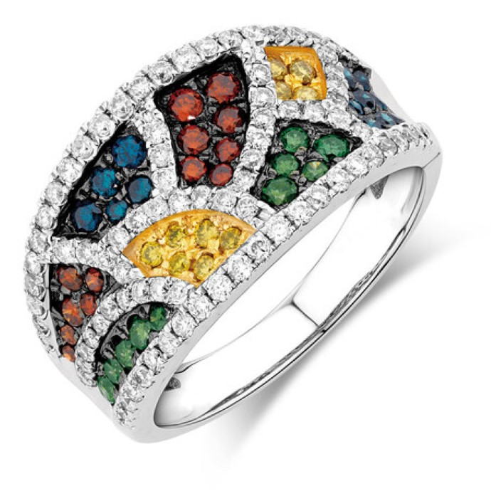 Enhanced colored diamond white gold ring