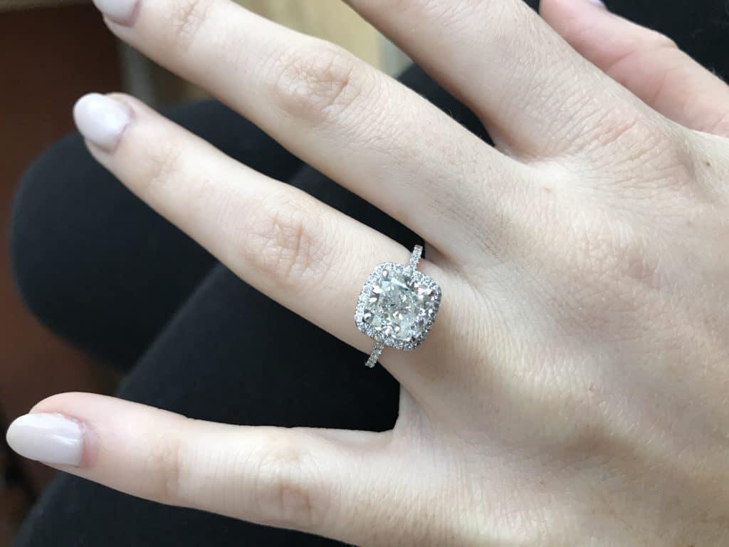 Clarity-enhanced diamonds on a platinum ring