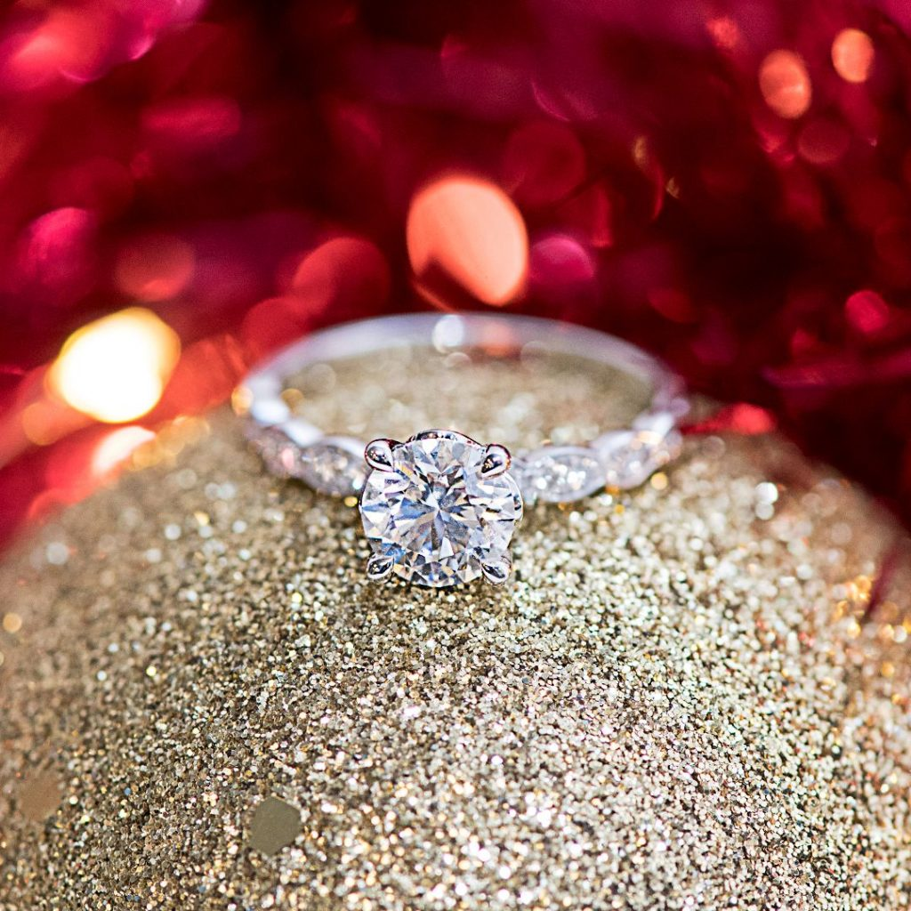 Sparkling Christmas engagement ring