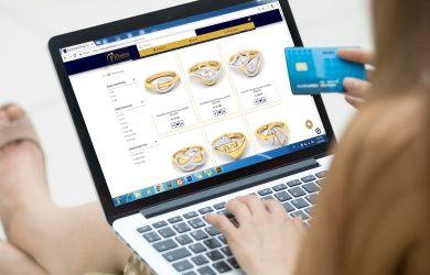 Woman buying diamonds online