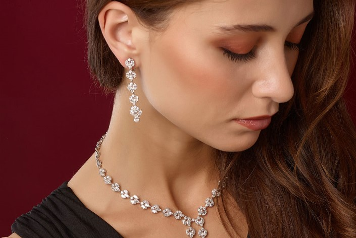 HPHT diamond necklace and matching earrings.