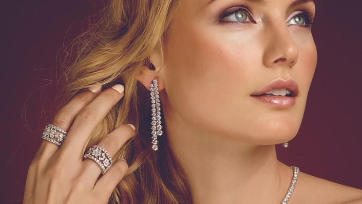 HPHT diamond necklace, rings and matching earrings.