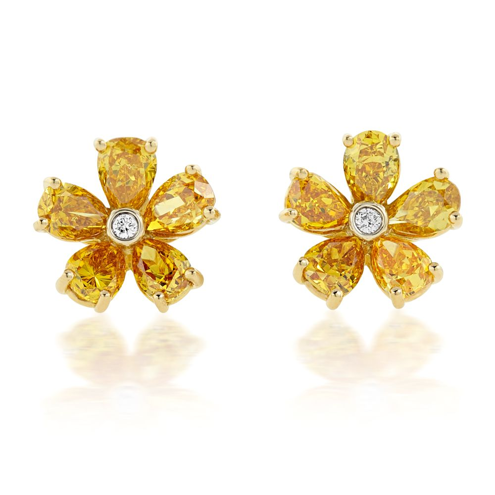 Brilliant Thanksgiving yellow diamond engagement earrings