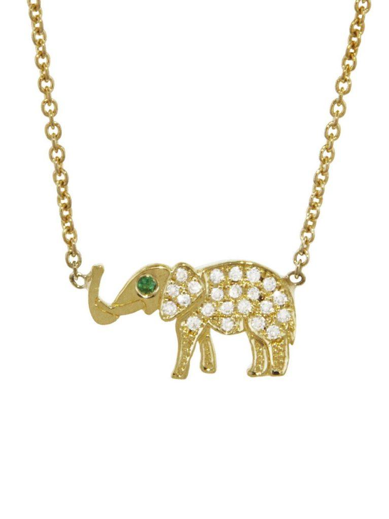 Diamond elephant pendant