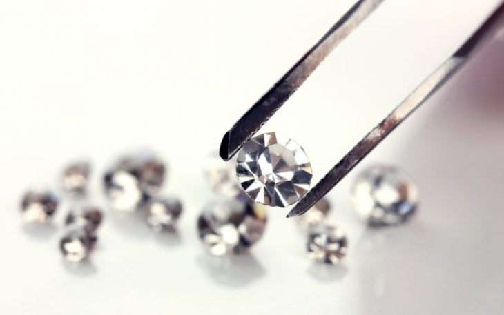 Close-up of a treated diamond