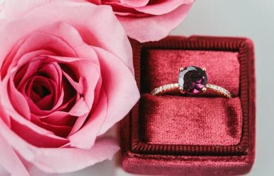 Diamond gift presented with flowers.