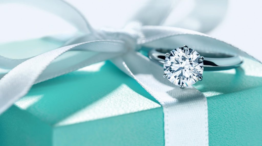 An engagement  ring and a pretty box.