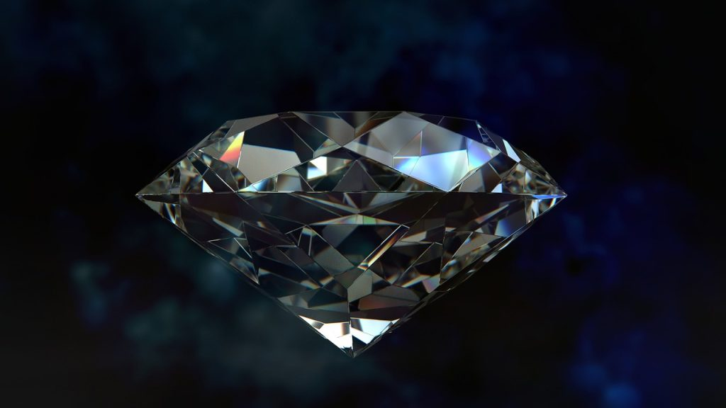 Diamond subjected to laser drilling