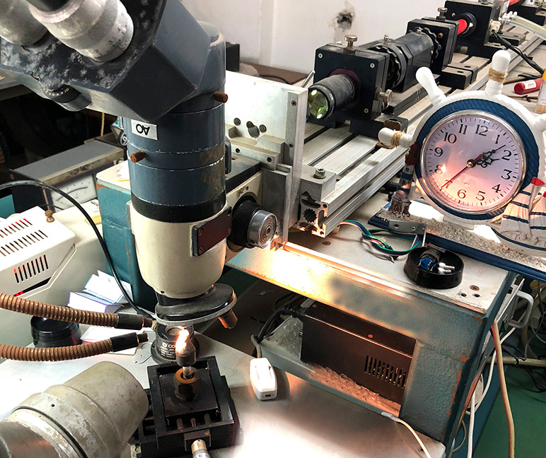 Machine used to create clarity enhanced diamonds using laser drilling