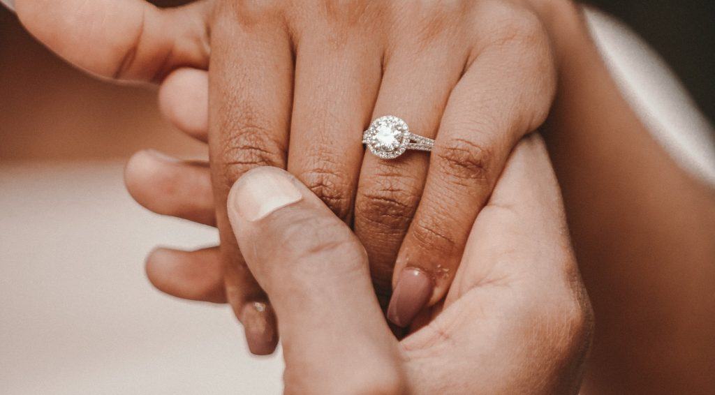 Beautiful engagement ring given after a New Year's proposal