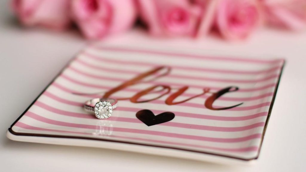 Stunning proposal diamonds on a love tray