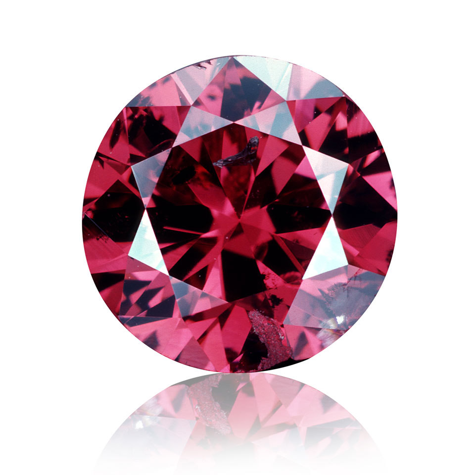Round, red diamond