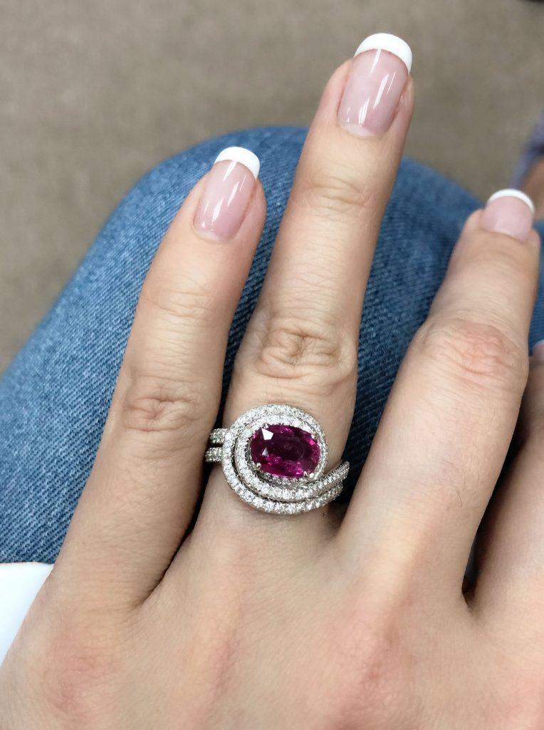 A diamond ruby ring