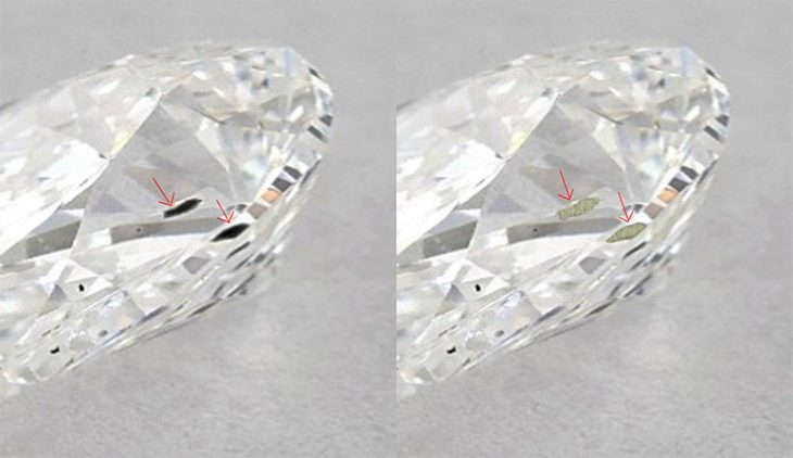 Image of a diamond treated for clarity enhancement before and after.