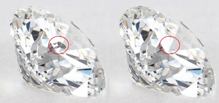Diamond inclusion removed through treatment process.