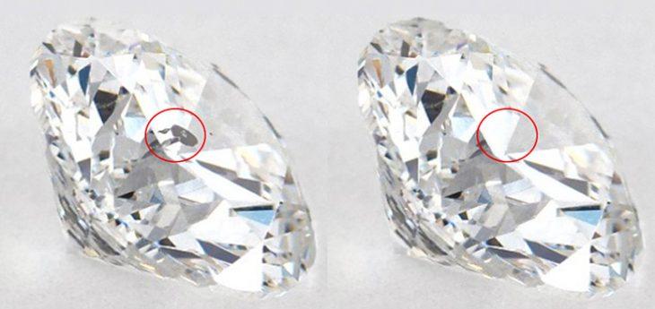 Diamond inclusion removed through treatment process.