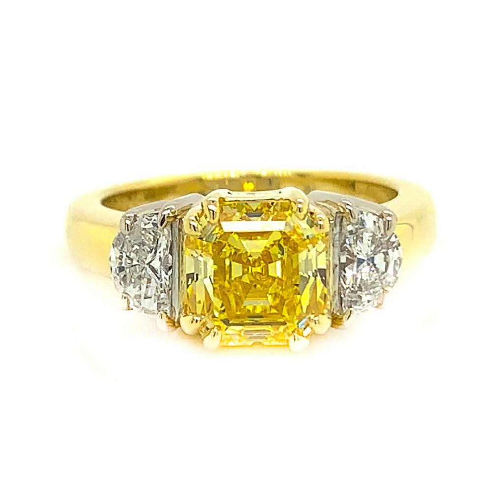 Yellow diamond set in yellow gold
